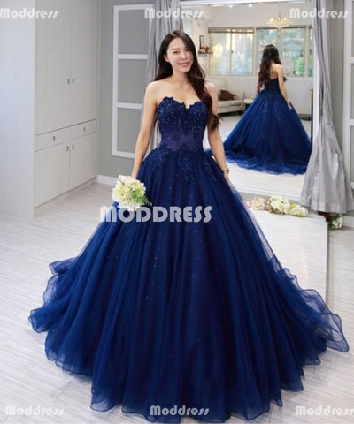 Blue Applique Long Prom Dresses Beads Evening Formal Dresses Strapless V-Neck Ball Gowns