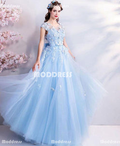 Blue Applique Long Prom Dresses V-Neck Evening Dresses A-Line Formal Dresses with Bowknot