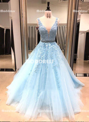 Blue Applique Long Prom Dresses V-Neck Evening Dresses Tulle A-Line Formal Dresses