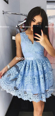 Blue Applique Short Homecoming Dresses V-Neck Short Homecoming Dresses A-Line Short Homecoming Dresses