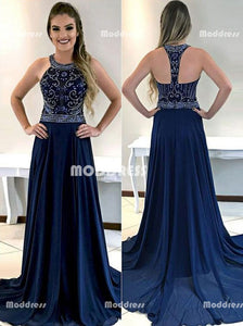Blue Beaded Long Prom Dresses Chiffon A-Line Evening Formal Dresses