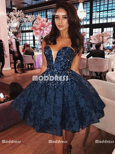Blue Beaded Short Homecoming Dresses Lace Short Homecoming Dresses Sweetheart Homecoming Dresses