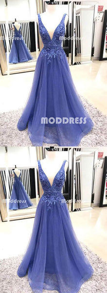 Blue Deep V-Neck Long Prom Dresses Applique Beaded Evening Dresses A-Line Formal Dresses,HS797
