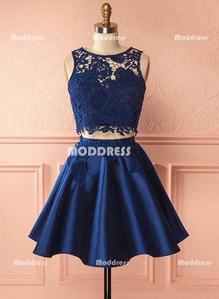 Blue Lace 2 Pieces Short Homecoming Dresses Satin Prom Dresses Knee Length Evening Formal Dresses,HS836