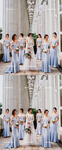 Blue Long Bridesmaid Dresses Mermaid Bridesmaid Dresses Off the Shoulder Bridesmaid Dresses