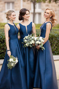 Blue Long Bridesmaid Dresses Satin A-Line Bridesmaid Dresses V-Neck Bridesmaid Dresses