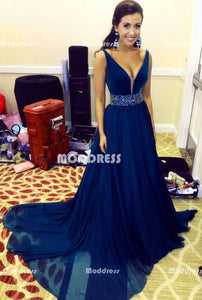 Blue Long Prom Dresses V-Neck Evening Dresses Beaded A-Line Formal Dresses