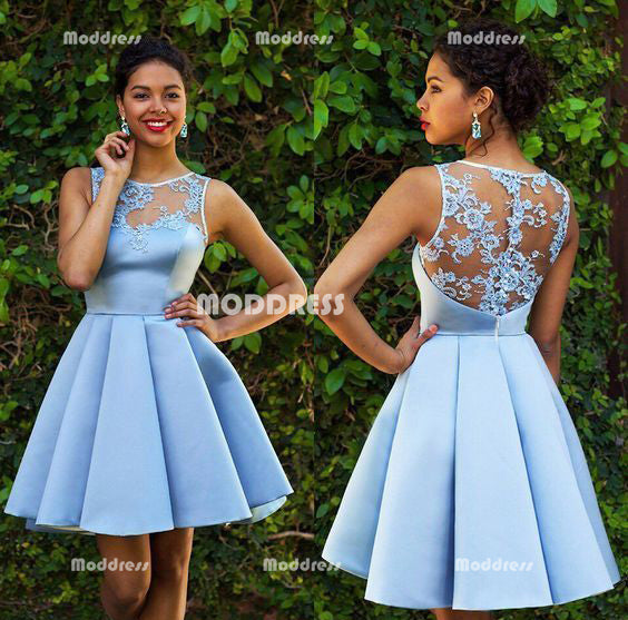 Blue Short Homecoming Dresses Applique Satin Short Homecoming Dresses