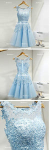 Blue Short Homecoming Dresses Applique Short Homecoming Dresses Tulle A-Line Short Homecoming Dresses
