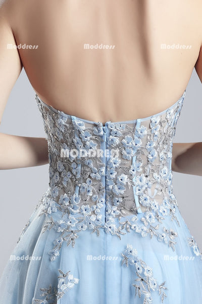 Blue Strapless Long Prom Dresses High-Low Evening Dresses Applique Beaded Formal Dresses
