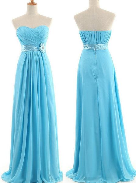 strapless blue chiffon long bridesmaid dresses ,BD46573