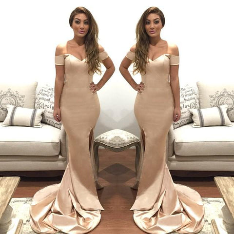 small train side slit off shoulder mermaid long evening dress, BD6445