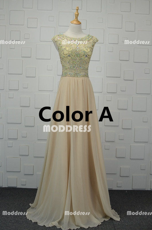 Charming Beaded Long Prom Dresses Cheap Chiffon Evening Dresses Cap Sleeve A-Line Formal Dresses