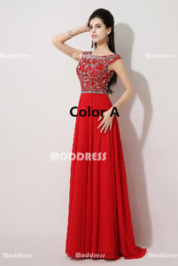 Charming Beaded Long Prom Dresses Chiffon Evening Dresses Sleeveless A-Line Formal Dresses