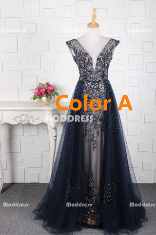 Charming Beaded Long Prom Dresses Deep V-Neck Evening Dresses Tulle A-Line Formal Dresses