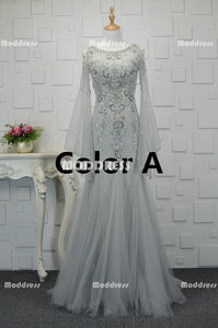 Charming Beaded Long Prom Dresses Mermaid Evening Dresses Long Sleeve Formal Dresses