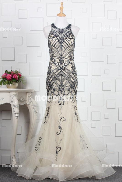 Charming Beaded Long Prom Dresses Mermaid Evening Dresses Sleeveless Formal Dresses