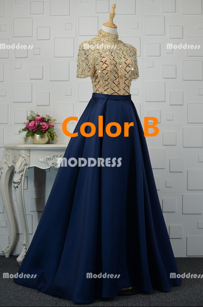 Charming Beaded Long Prom Dresses Satin A-Line Evening Dresses High Neck Short Sleeve Formal Dresses