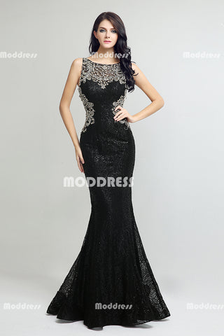 Charming Beaded Long Prom Dresses Sequins Lace Evening Dresses Black Mermaid Formal Dresses