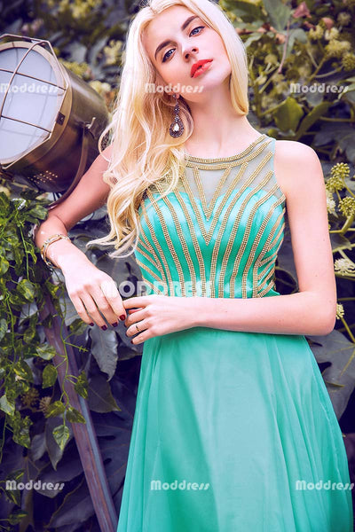 Charming Beaded Long Prom Dresses Sleeveless Evening Dresses A-Line Formal Dresses