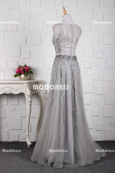 Charming Beaded Long Prom Dresses Tulle A-Line Evening Dresses Sleeveless Formal Dresses