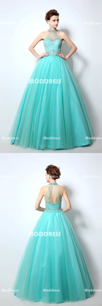 Charming Beaded Long Prom Dresses Tulle Ball Gowns Formal Dresses