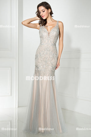 Charming Beaded Long Prom Dresses V-Neck Evening Dresses Mermaid Formal Dresses