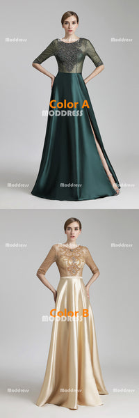 Charming Green Beaded Long Prom Dresses Satin A-Line Evening Dresses Half Sleeve Backless Formal Dresses with Slit