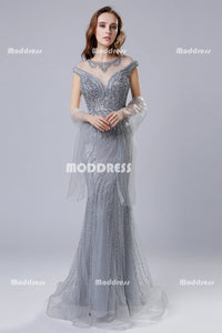 Charming Grey Beaded Long Prom Dresses Mermaid Evening Dresses Cap Sleeve Formal Dresses