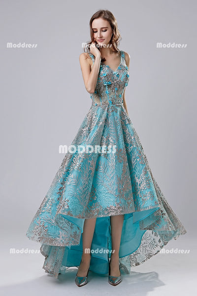 Charming Lace High-Low Long Prom Dresses V-Neck Evening Dresses A-Line Backless Formal Dresses