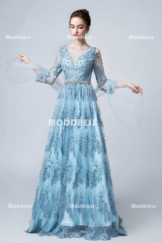 Charming Lace Long Prom Dresses A-Line Evening Dresses Three Quarters Formal Dresses