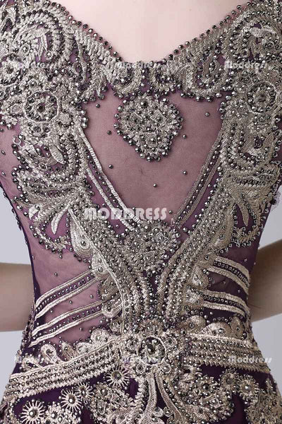 Charming Mermaid Long Prom Dresses Applique Beaded Evening Dresses Sleeveless Formal Dresses