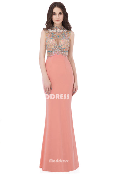 Charming Mermaid Long Prom Dresses Beaded Evening Dresses High Neck Formal Dresses