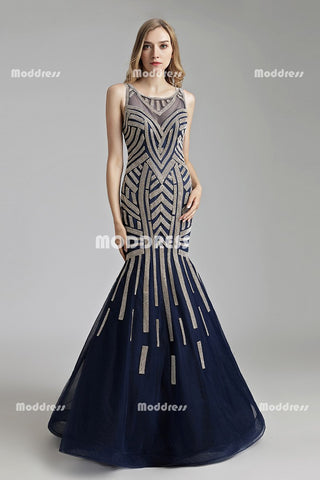 Charming Mermaid Long Prom Dresses Beaded Evening Dresses Sleeveless Backless Formal Dresses