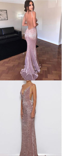 New Simple Prom Dress, Sexy Spaghetti Sequins Evening Dresses,Backless Long Prom Dress,HS182