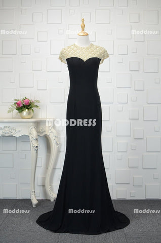Charming Pearls Long Prom Dresses Mermaid Evening Dresses Short Sleeve Formal Dresses