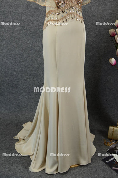 Charming V-Neck Long Prom Dresses Beaded Evening Dresses Mermaid Formal Dresses