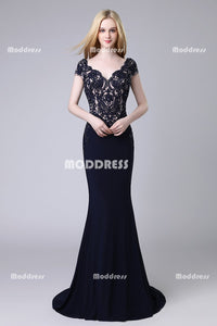 Charming V-Neck Long Prom Dresses Mermaid Evening Dresses Applique Beaded Formal Dresses