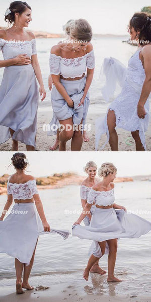 Cheap Chiffon Long Bridesmaid Dresses 2 Pieces Bridesmaid Dresses Lace Off the Shoulder Bridesmaid Dresses