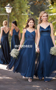 Cheap Chiffon Long Bridesmaid Dresses V-Neck Bridesmaid Dresses A-Line Spaghetti Straps Bridesmaid Dresses