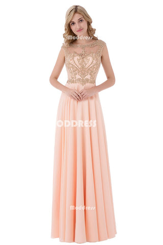 Cheap Chiffon Long Prom Dresses Applique Beaded Evening Dresses A-Line Formal Dresses