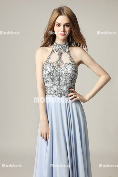 Red Chiffon Long Prom Dresses Beaded Evening Dresses High Neck A-Line Formal Dresses