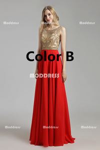 Cheap Chiffon Long Prom Dresses Beaded Evening Dresses Sleeveless A-Line Formal Dresses
