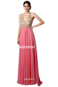 Cheap Chiffon Long Prom Dresses Beaded V-Neck Evening Dresses Halter A-Line Formal Dresses