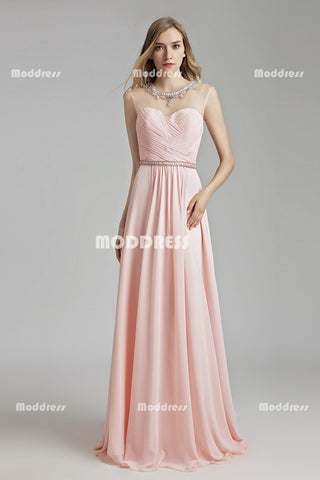 Cheap Chiffon Long prom Dresses Pink Bridesmaid Dresses A-Line Formal Dresses
