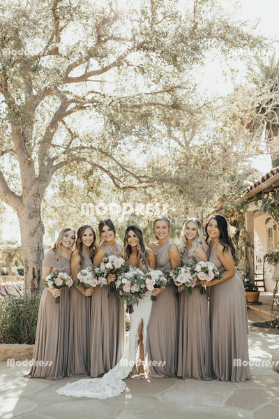 Cheap Convertible Long Bridesmaid Dresses Wrapped A-Line Bridesmaid Dresses