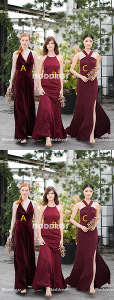 Cheap Long Bridesmaid Dresses Chiffon A-Line Bridesmaid Dresses Velvet Bridesmaid Dresses