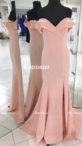 Cheap Pink Long Prom Dresses Mermaid Evening Dresses Off the Shoulder Formal Dresses