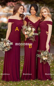 Cheap V-Neck Long Bridesmaid Dresses Red Off the Shoulder Bridesmaid Dresses