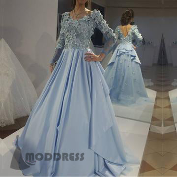 Chic Floral Lace Long Prom Dresses V Neck Long Sleeves Formal Evening Gowns,HS651